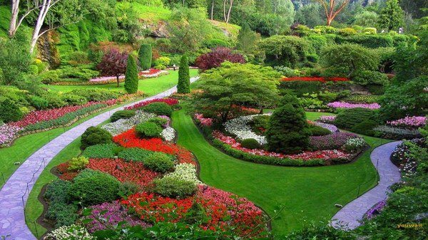 Fantastic Garden Landscape Design Flowers Trees Garden Paths