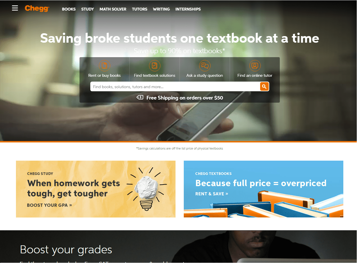 chegg- college online resources