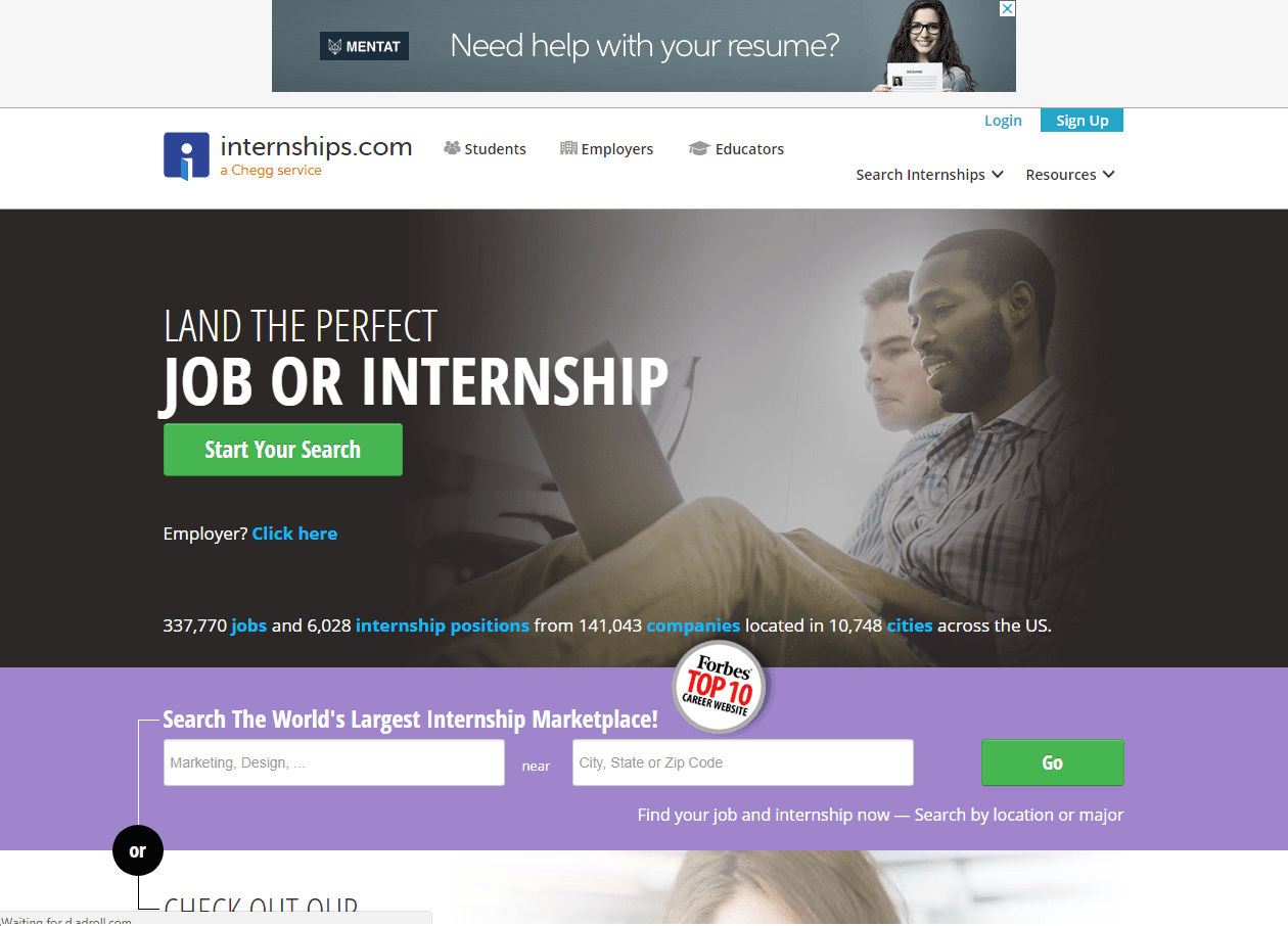 Internships.com- college online resources