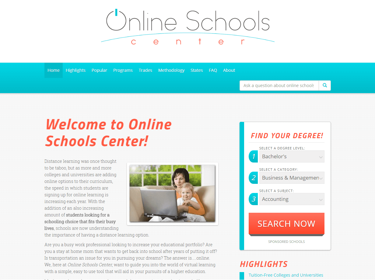 online schools center - online college resources