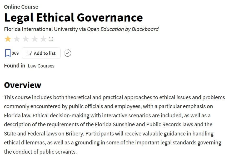 Legal Ethical Governance